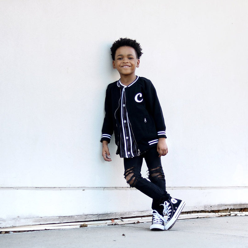 Personalised Black Bomber Jacket JACKETS + JUMPERS sunny&finn australia kids
