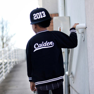 Personalised Black Bomber Jacket JACKETS + JUMPERS sunny&finn Personalised Black Bomber Jacket 1-2 australia kids