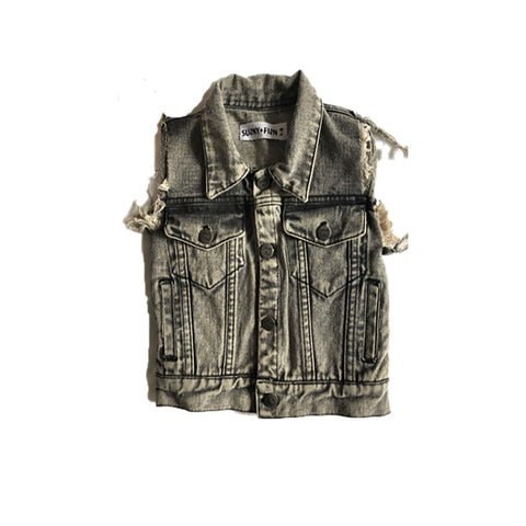 Personalised Denim Vest - Black Washed JACKETS + JUMPERS sunny+finn australia kids