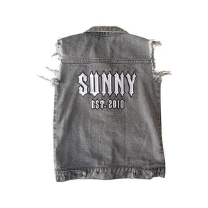 Personalised Denim Vest - Black Washed sunny+finn 1-2 australia kids