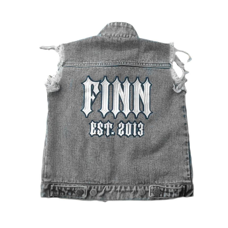 Personalised Denim Vest - Black Washed sunny+finn australia kids