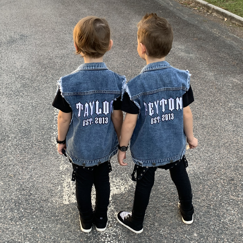 Personalised Denim Vest - Blue JACKETS + JUMPERS sunny&finn australia kids