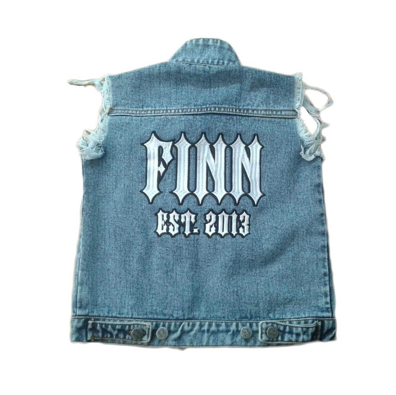 Personalised Denim Vest - Blue JACKETS + JUMPERS sunny&finn Custom Denim Vest Blue 1-2 australia kids