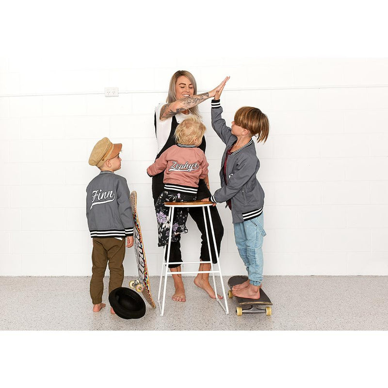 Personalised Grey Bomber Jacket JACKETS + JUMPERS sunny&finn australia kids