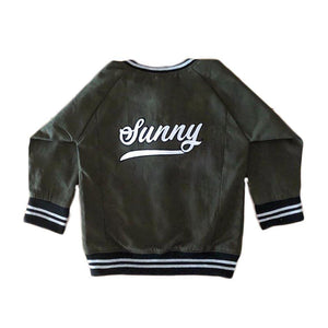 Personalised Khaki Green Bomber Jacket JACKETS + JUMPERS sunny&finn Personalised Khaki Green Bomber Jacket 1-2 australia kids