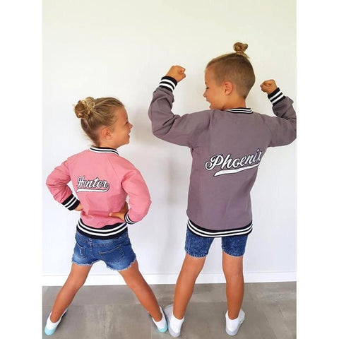 Personalised Pink Bomber Jacket JACKETS + JUMPERS sunny&finn australia kids