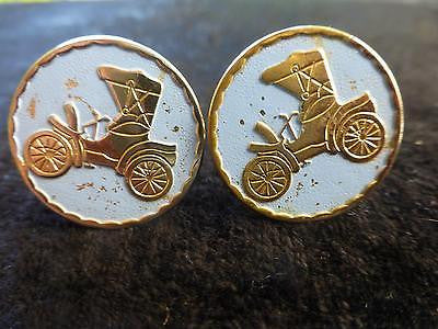 Vintage Car Cufflinks with Blue Background.