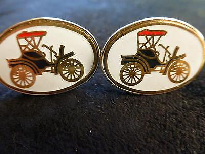 Original Large Vintage Car Cufflinks, Motor, Automobile, White Background, 1950s
