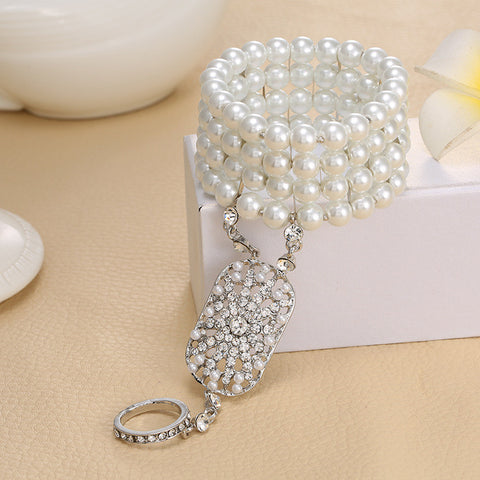 Art Deco Bracelet with Attached Ring - Gatsby Style - Pearls and Rhinestones