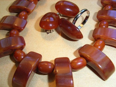 Geometric Bakelite Necklace Caramel With Ear Clips and Ring