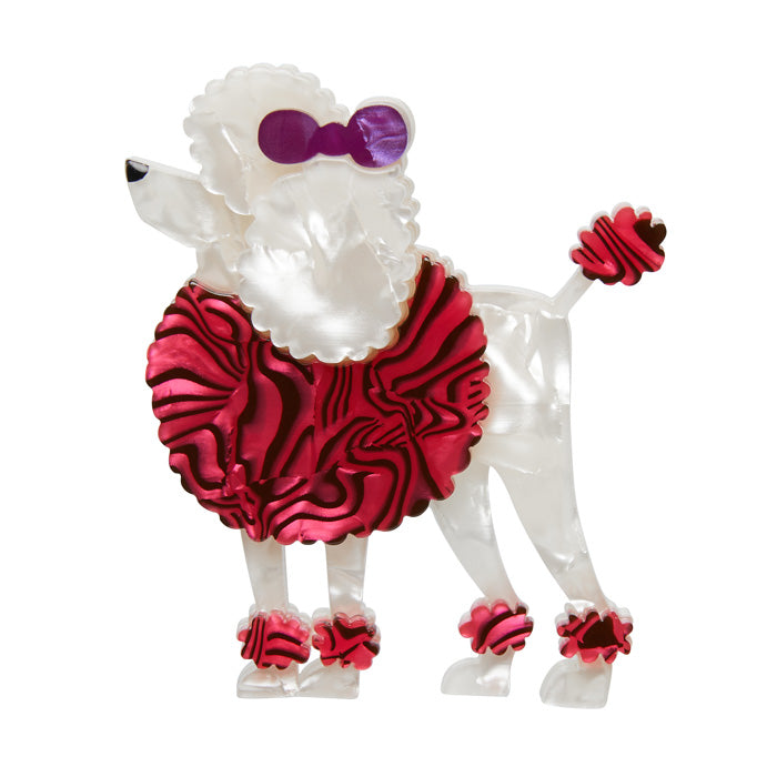 Erstwilder Madame Amore Dog Brooch - Standard Poodle - Red and White - 2017