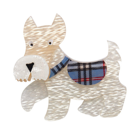 Erstwilder Brooch - Wallace the Scotty Dog - Cream & Tartan NEW 2017