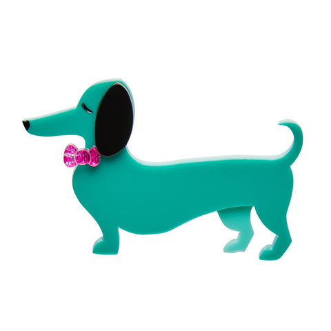 Erstwilder Spiffy the Sausage Dog - Dog Brooch - Green - NEW 2017