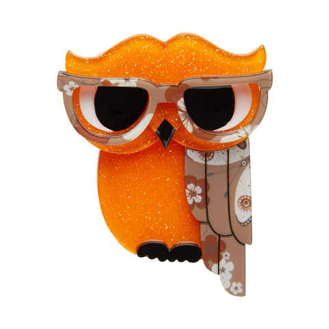 Erstwilder Waldo the Wacky Wise Owl - Orange - Bird Brooch - NEW 2017