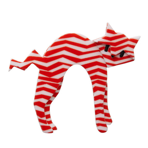 Erstwilder Cat Brooch - Breton Kitty - Red and White - Extra Large - NEW 2017