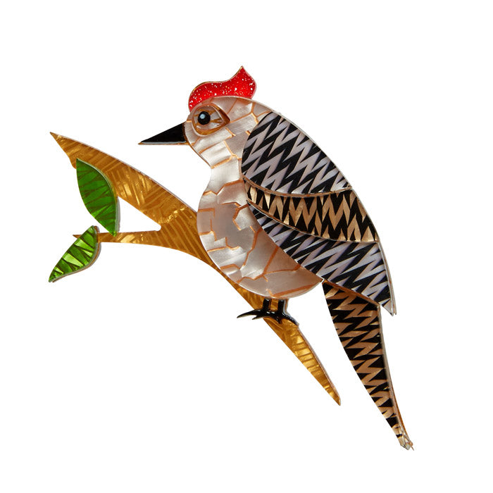Erstwilder Bird Brooch - Woodpecker - Tori Tree Drummer
