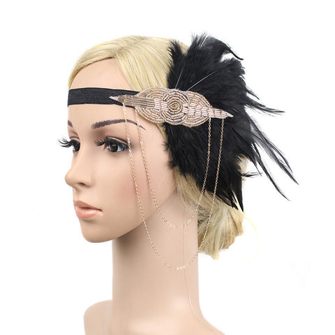 Gold and Black 1920s Headband with Feathers
