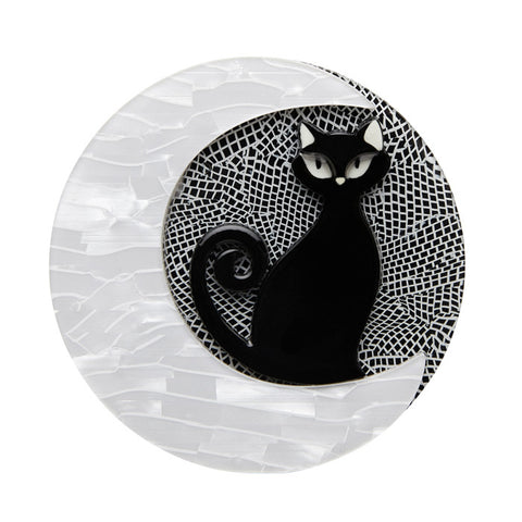 Erstwilder Halloween Brooch - Cara the Halloween Kitty - Black, Grey and White 2017