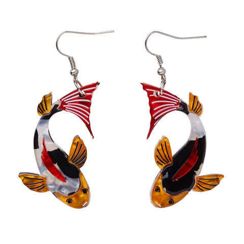 Erstwilder Japanese Earrings - Playing Koi - LAST ONES