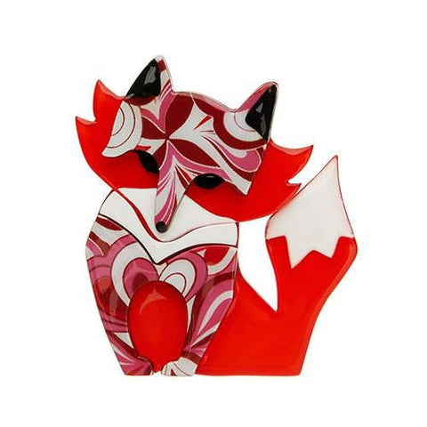 Erstwilder Fox Brooch - Fleur the Foxy Flame - Red