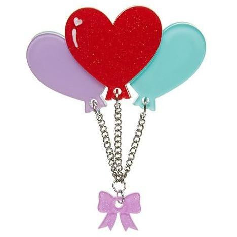Erstwilder Brooch - Lighter than Air - Valentine Heart Balloons