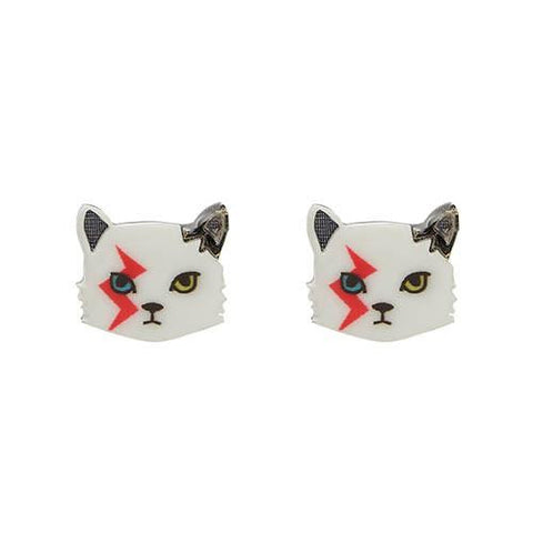 Erstwilder Cat Earrings - Rebel Rebel - In Memory of David Bowie