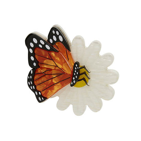 Erstwilder Brooch - Butterfly on White Flower - Wanderlust