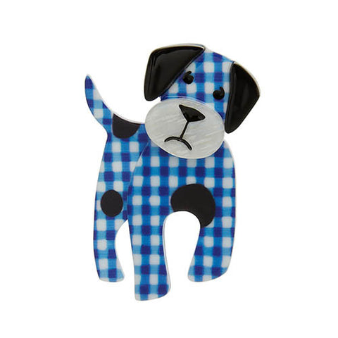 Erstwilder Dog Brooch - Madeline the Muddled Mutt - Blue Check - NEW 2017