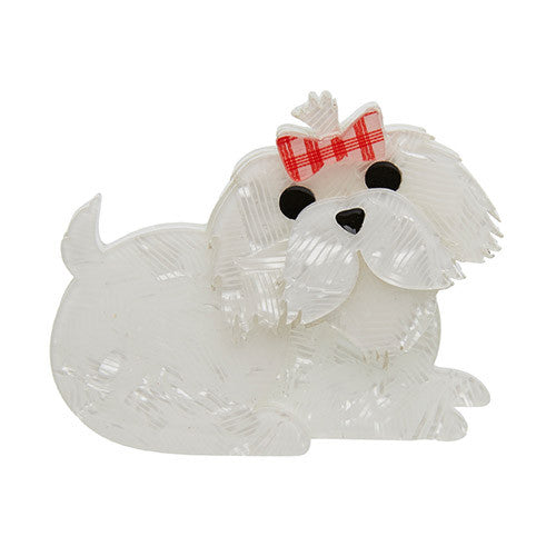 Erstwilder Dog Brooch - Molly the Maltese - Little white dog with red bow