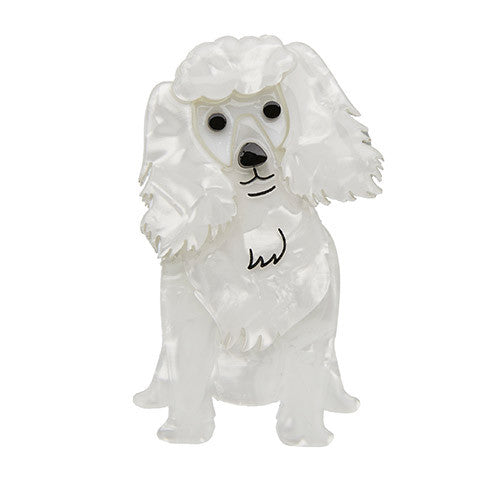 Erstwilder Poodle Brooch - Oodles - in White