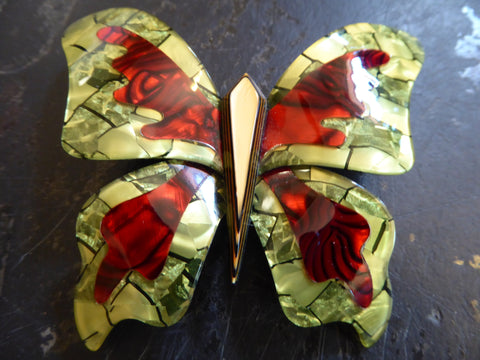 Lea Stein Large Elfe the Butterfly Brooch - Red and Green