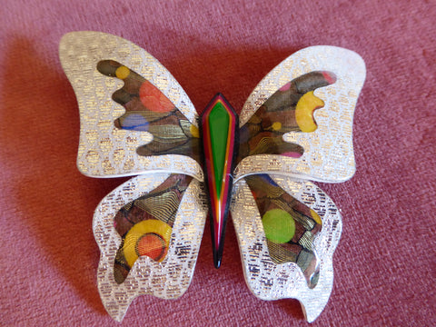 Lea Stein Large Elfe the Butterfly Brooch - Silver, Green, Yellow, Red, Blue