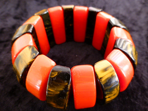 Stunning Elasticated Bakelite Stretch Bracelet Bangle Red, Caramel and Brown