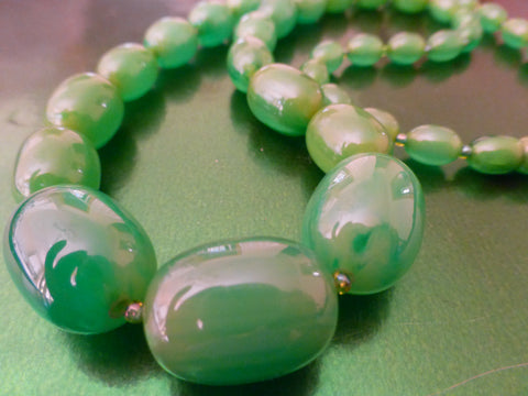 Bakelite Necklace Pale Marbled Green, Matching Earrings, Simichrome Tested +
