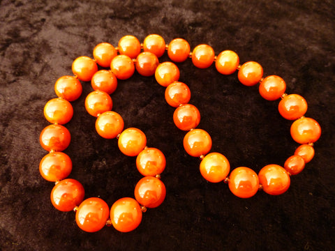 Bakelite Necklace, Marbled Butterscotch Caramel - 51 cms, Simichrome Tested +