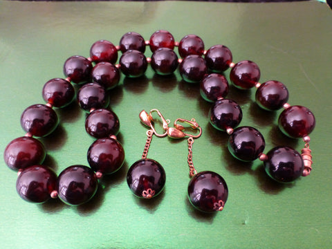 Bakelite Necklace, Very Dark Brown + Ear Clips, Simichrome Tested +