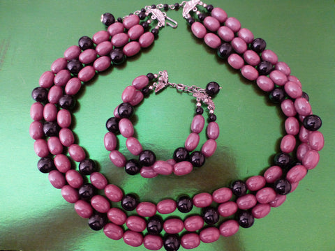 Bakelite Necklace 3 Strand, Lilac & Black, Matching Bracelet, Simichrome Tested +