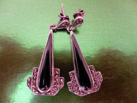 Art Deco Silver and Marcasite Earrings