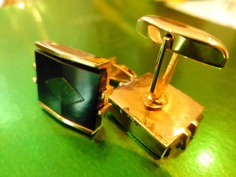 Art Deco Cufflinks, Goldtone, Glass, Black Green Diamond, Genuine Vintage