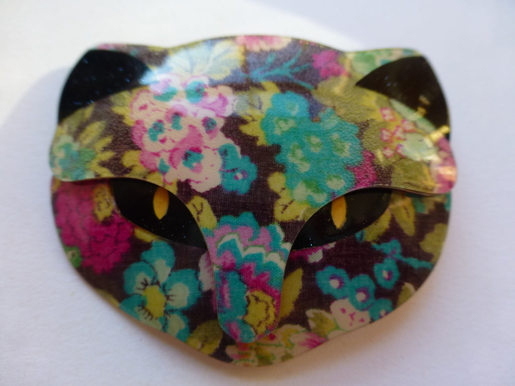 Lea Stein Bacchus Cat Head Brooch, Floral Multicoloured, Black, Yellow, Teal, Pink