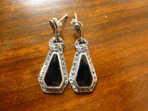 Art Deco Silver and Marcasite Earrings with Black Enamel