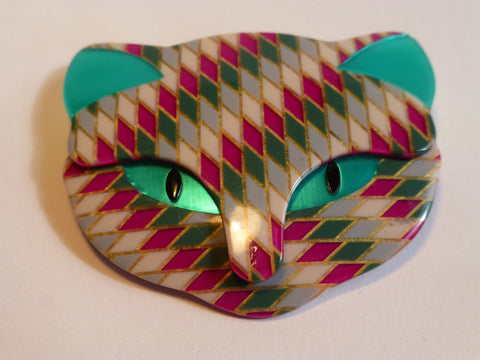 Lea Stein Bacchus Cat Head Brooch - Turquoise Pink Diamond Pattern