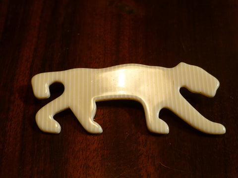 Lea Stein Panther Brooch - Cream