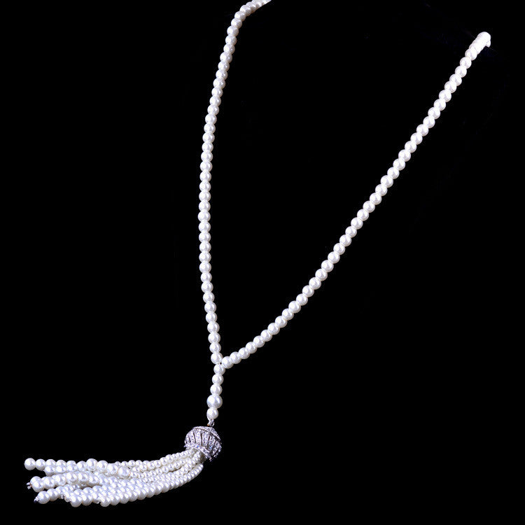 1920s Flapper Tassel Necklace Faux Pearl with Rhinestones