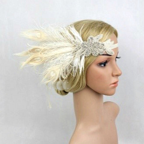 Silver and Cream Feather Wedding Headpiece with Crystals and Netting