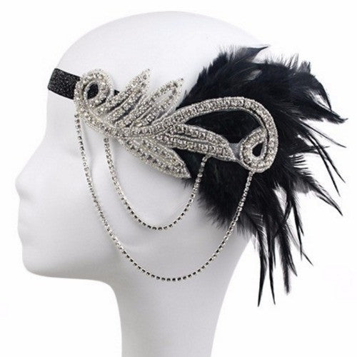 Black and Silver 1920s Flapper Headband with Feathers