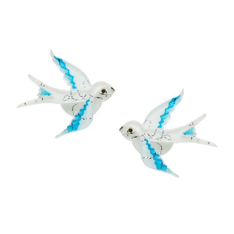 Erstwilder Bird Earrings - Blue Bayou - Blue and White