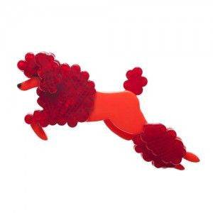 RARE - Erstwilder Dog Brooch - Lady the Leaping Poodle - Orange and Red
