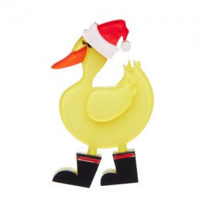 Erstwilder Bird Brooch - Christmas Duck - Merry Quack Mas!