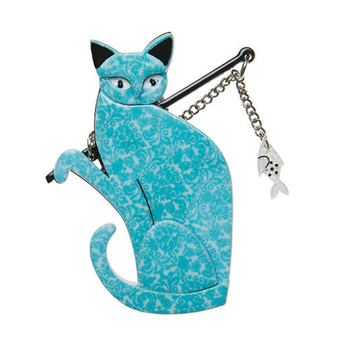 Erstwilder Cat Brooch - The Famous Fishing Cat - Teal, Turquoise